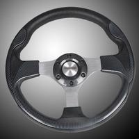 New 12 315mm PU Leather Sport Racing Steering Wheel With Horn Button Carbon Fiber Look Car