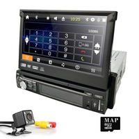 7 Touch Screen Universal Single din retractable Car Multimedia DVD Player Auto radio Stereo GPS Player Auto Radio 8GB map card