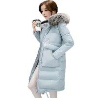 Winter Women Medium Long Padded Jacket 2017 New Soild Long S Eeve Faux Fur Collar Hooded