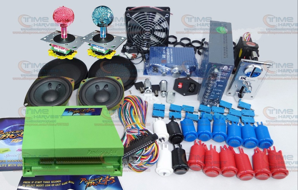 Arcade parts Bundles kit with Pandora Box 4S+ 815 in 1 upgraded version game board LED Joystick American Style Buttons coin mech