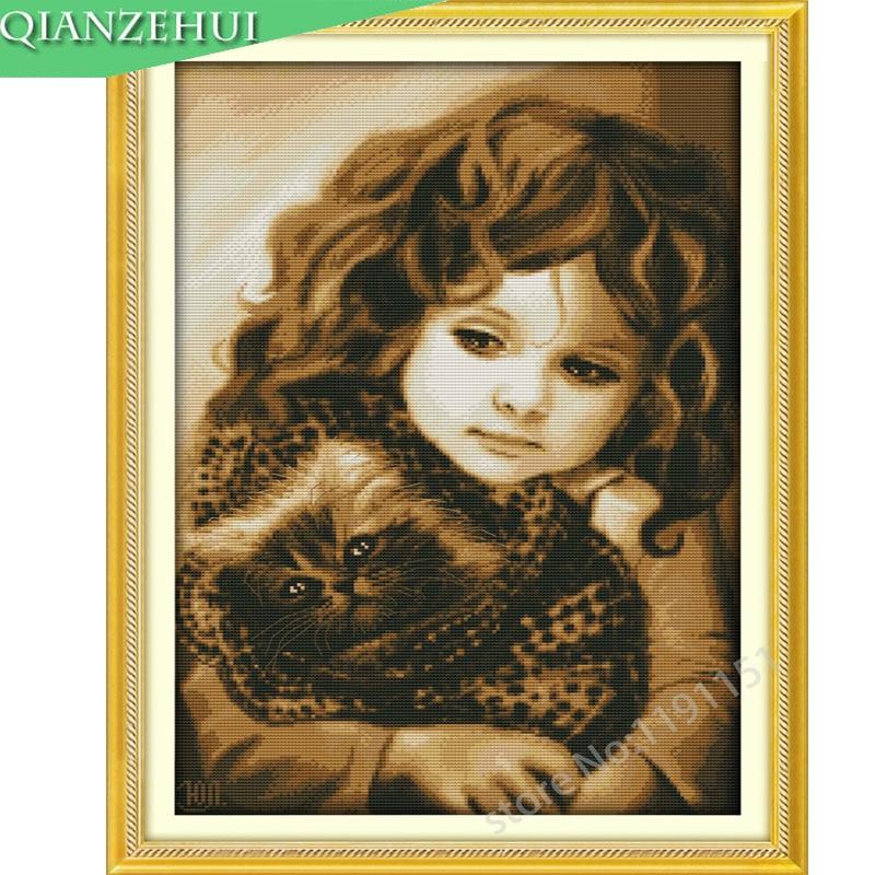 Вышивка крестом девушкой с кошкой