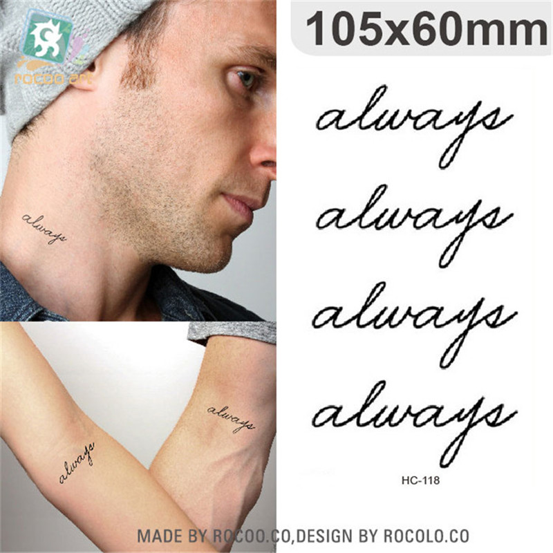 Body Art Waterproof Temporary Tattoos For Men Women Simple Fashion 3d Letters Design Flash Tattoo Sticker Free Shipping HC1118