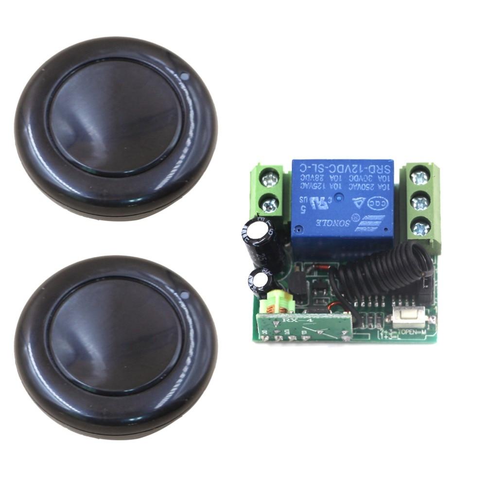 цены  2pcs Black Transmitter + 1pcs Mini Receiver DC12V 1CH Mini RF Wireless Remote Control Switch System 315/433mhz Best Quality