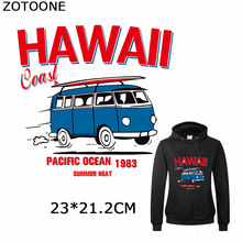 ZOTOONE Bus Iron on Transfers Patches HAWAII Patch Washable Clothing Decorations Accessories Diy Applications for Kids Crafts E