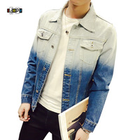 Fashion Street Style Letter Printed Washed Men S Slim Fit Denim Jacket Jean Coat Outwear For