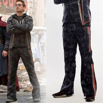 Фильм Мстители 3 Железный человек зимняя куртка Тони же стиль костюмы для косплея камуфляж Звезда Любовь Топ пальто брюки девоч 1