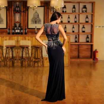 Finove 2020 Black Mermaid Evening Dresses O Neck Beadings Prom Gowns Illusion Floor Length Vintage Graduation Party Dresses robe