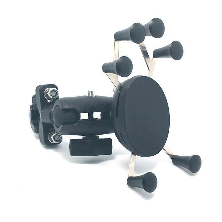 imágenes para Manija de la motocicleta Bar Rail Mount Bar Mount X-Grip Holder Soporte Del Teléfono con 65mm Enchufe Doble Brazo para 4-6 pulgadas Del Teléfono Celular y GPS