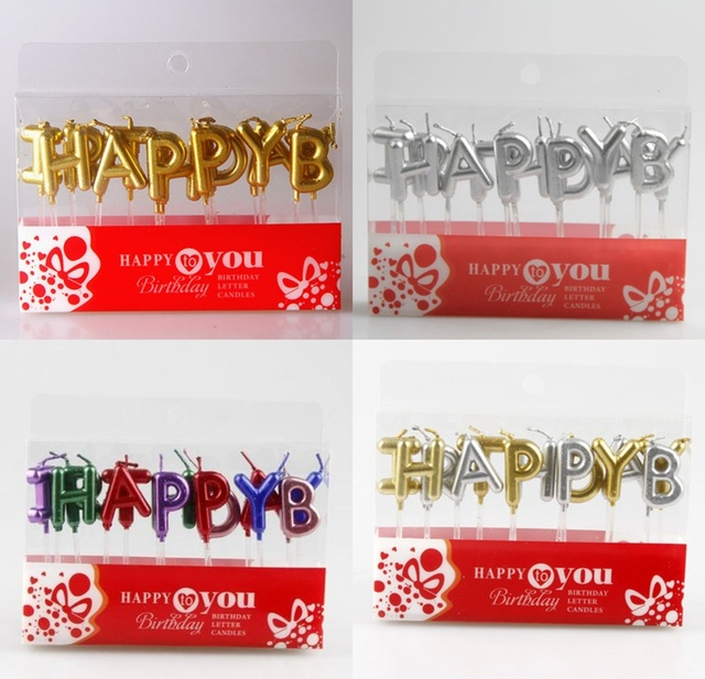 1 Set Fashion Birthday Cake Decoration Home Party Use Ideal Gold Silver Colorful HAPPY BIRTHDAY Candle Candles