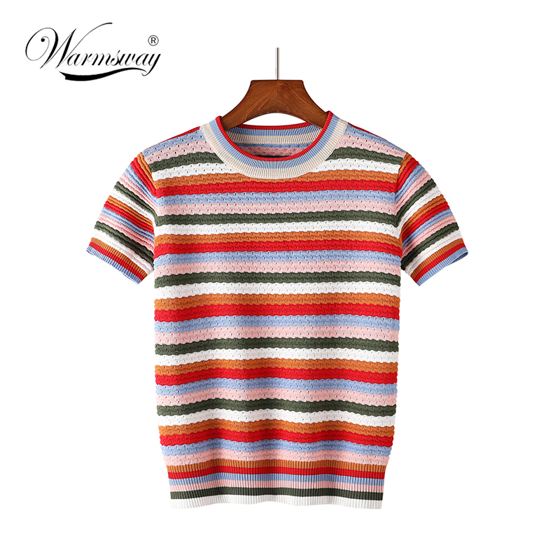 Summer rainbow striped Knitted Top for Women Short Sleeve O Neck Casual pullover girl hollow out Slim colorful T-shirt B-049