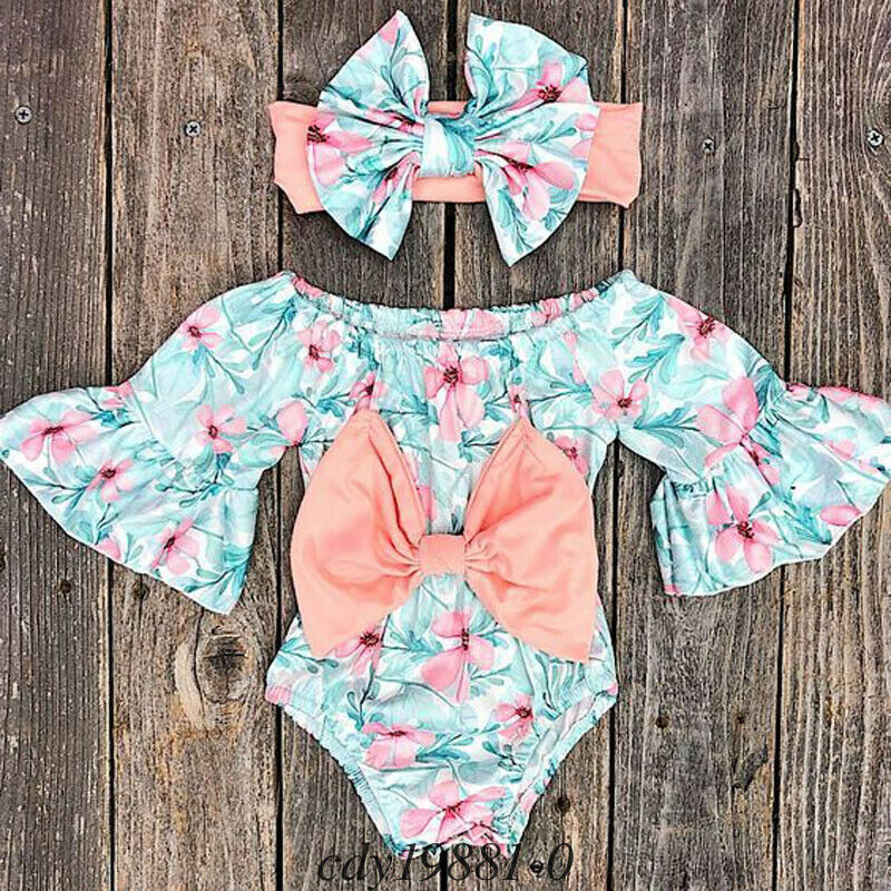 CANIS Brand 2019 Summer Newborn Kids Baby Girls Big Bowknot Floral Printed Romper Jumpsuit + Bow Knot Headband Clothes Sunsuit