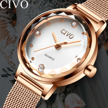 CIVO 2019 Luxury Top Brand Women Watch Diamond Fashion Crystal Elegant For Girls Ladies Waterproof Quartz Wrist Watches