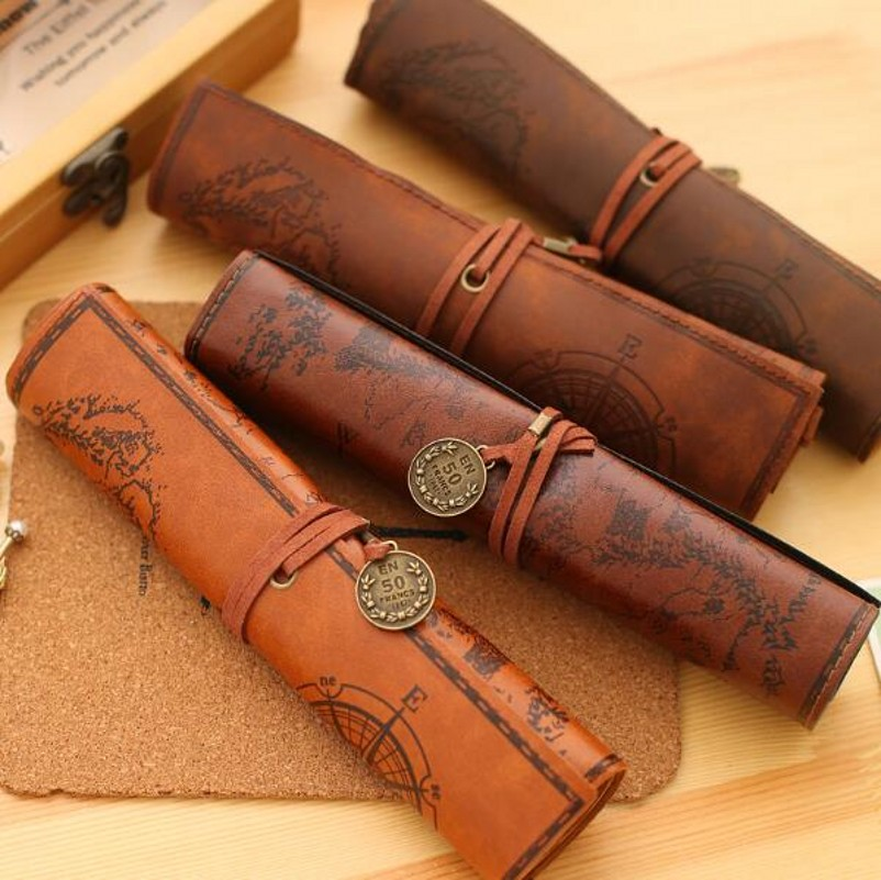 JUKUAI 1Pcs New European Retro Treasure Map Cortex Large Volume Vintage Roll Pen Pencil Box Case Bag Stationery School Supplies