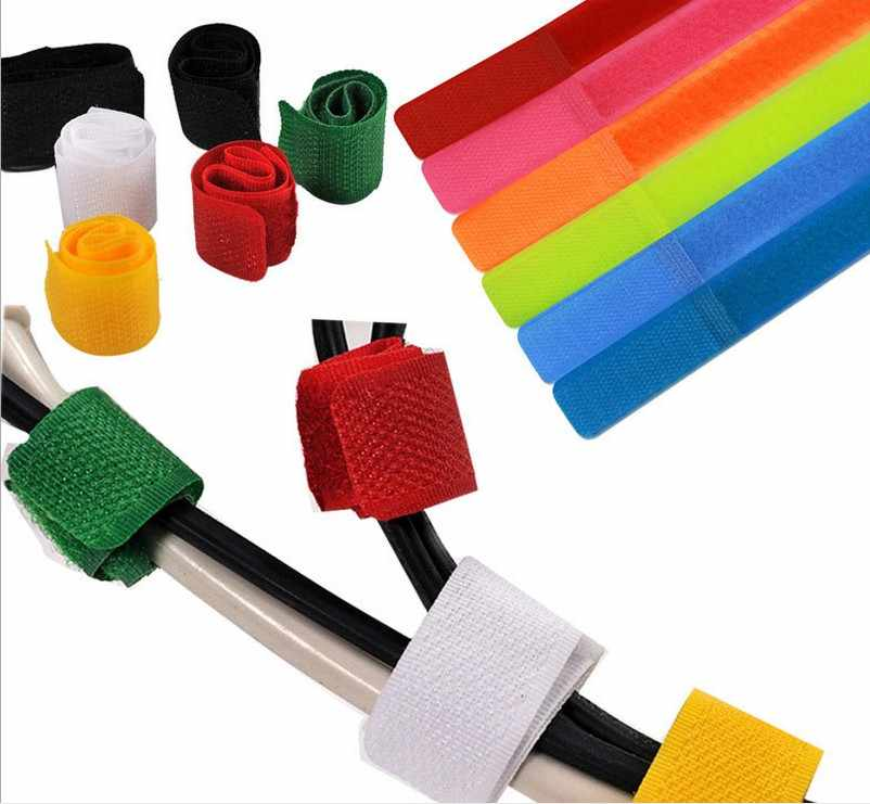 ad981a37f81e 100Pcs Nylon Cable Ties Reusable Sticky Adhesive Strap Organizer USB PC TV Cord  Wire Plug Management