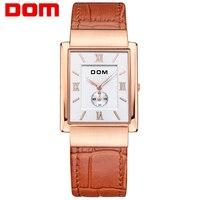 DOM Mężczyźni Vintage Business Style Watch Luksusowe Wodoodporny Skórzany Zegarek Kwarcowy PU Proste Kwadratowe Powierzchni