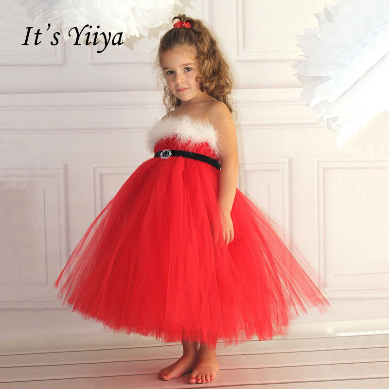 It's yiiya Fashion Bow Feathers Kid Spaghetti Strap Sleeveless   Flower     Girl     Dresses   Elegant For Party Wedding   Girl     Dress   S127