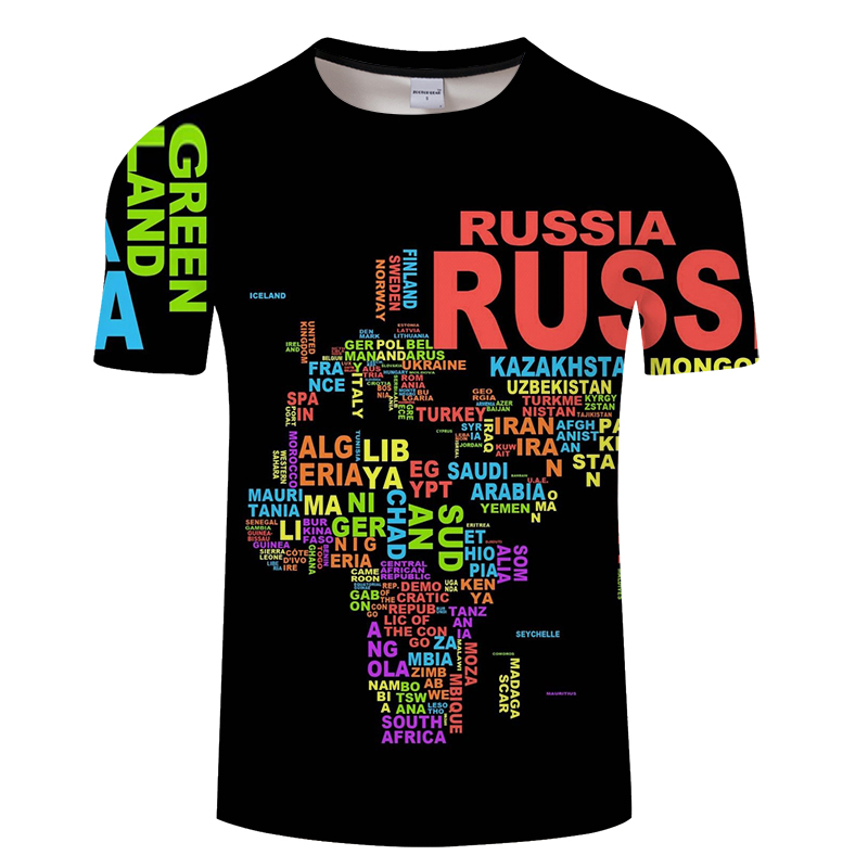 New fashion The World Map T shirt printing 3d t-shirt harajuku outfit tees top summer style Funny Graphic TShirt Asian size 6xl
