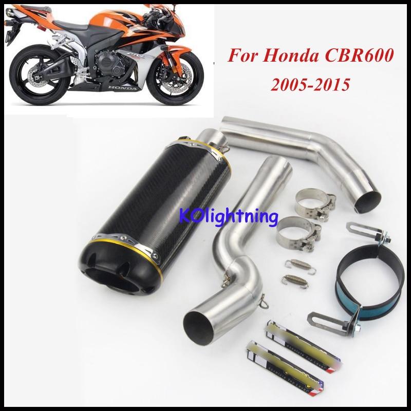 Слипоны CBR600RR мотоцикл выхлопной Системы трубы Середина Ближний Передняя Mid трубы скольжения на выхлопной трубы для Honda CBR600RR 2005 15