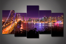 5Plane Home Decoration Wall Painting Landscape San Francisco Night Bridge Morden Modular Art Picture On Canvas For Living Room