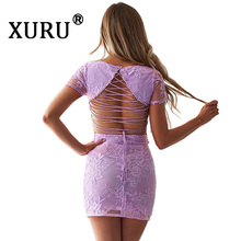 XURU Summer New Products Womens Lace Embroidered Dress Two-piece Strapless Open Back Set Sexy Nightclub