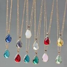 12 Colors Birthstone Natural Stone Water Drop Pendant Necklace Druzy Quartz Gem Crystal DIY Charm Women Jewelry