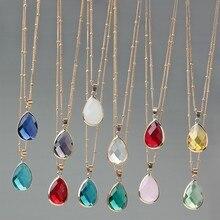12 cores birthstone pedra natural gota de água pingente colar druzy quartzo gem pedra cristal diy charme colar feminino jóias