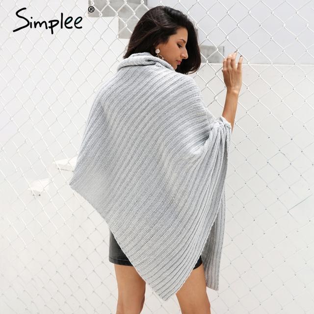 Simplee Knitting poncho turtleneck sweater women Vintage irregular streetwear pullover 2017 Winter sleeveless sweater jumper
