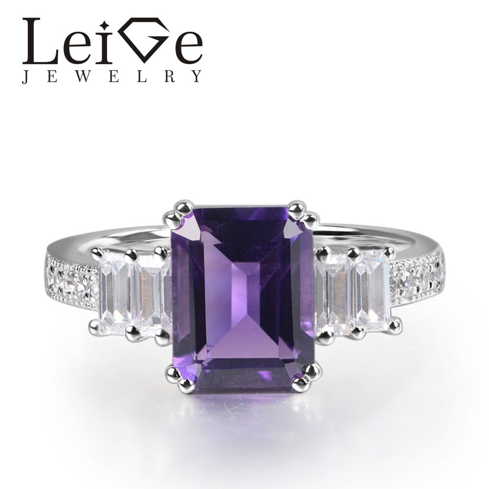Leige Jewelry Real Amethyst Ring Emerald Cut Prong Setting 925 Sterling Silver for Women Engagement Ring February BirthstoneLeige Jewelry Real Amethyst Ring Emerald Cut Prong Setting 925 Sterling Silver for Women Engagement Ring February Birthstone
