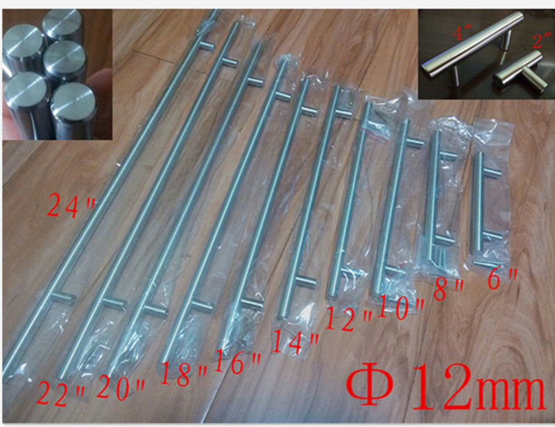"Diameter 12mmStainless Steel Kitchen Door Cabinet T Bar Handle Pull Knob 2"" ~ 24''"