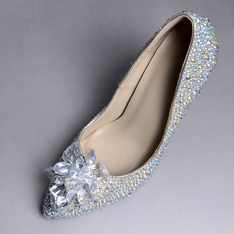 Sparkling Formal Dress Shoes Wedding Cinderella Crystal Shoes Pointed Toe Rhinestone Party Prom Shoes Bride Bouquet Dance Pumps