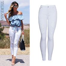 BIUZKO Summer Style White Hole Ripped Jeans Women Jeggings Denim High Waist Skinny