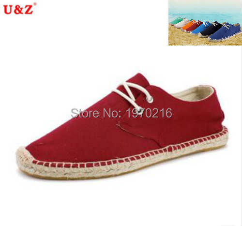 ФОТО Cool yet breathable 100% handmade Canvas Espadrilles Shoes Men,brand lace-up Linen fashion loafers male driving shoes Eu44