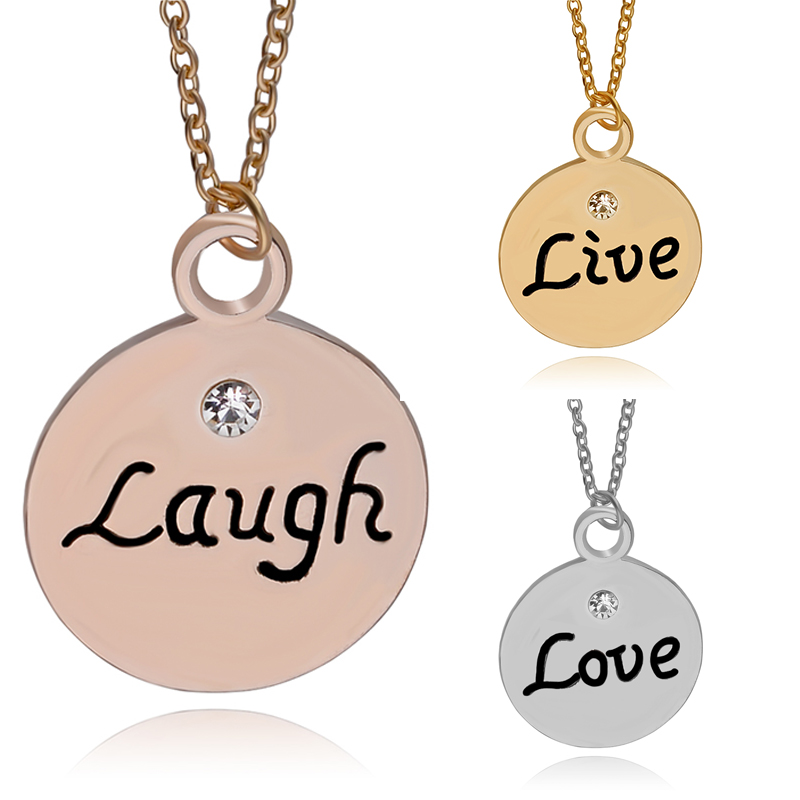 Best Friends Necklace For 3 Live Love Laugh Hand Stamped Letter