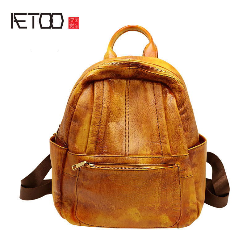 AETOO Leather shoulder bag female retro handmade leather backpack new Korean fashion wave wild bag ladies bag joy toy машина инерционная нива милиция