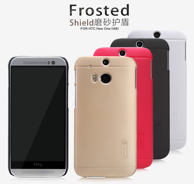 Original Nilkin Super Frosted Shield Hard Back PC Cover Case for HTC One M8 Phone Case + Screen Protector