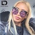 DOLCE VISION Oversized Cat Eye Sunglasses Women Brand Designer Purple Red Mirror Sun Glasses For Women 2017 New Shades Female