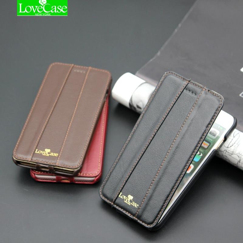 7 más marca de calidad superior Flip Cuero auténtico para el iPhone 7 8 más Teléfono de lujo cubierta trasera Carcasas + metal logo 4.7 caso
