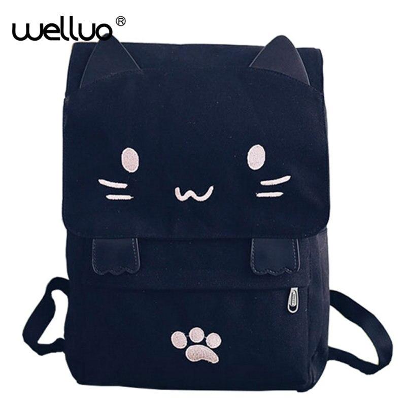 2017 New Lovely Cat Backpack Women Canvas Backpack Girls School Bag Cartoon Students Shoulder Bag Mochila