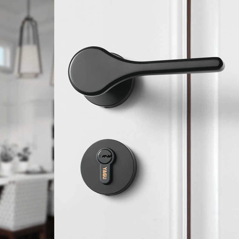 Color : Black, Lock : Without Lock Easy Installation Door Lock Indoor Bedroom Room Door Lock American Bathroom Door Handle Mute Wooden Door Lock Household Lock Stainless Steel