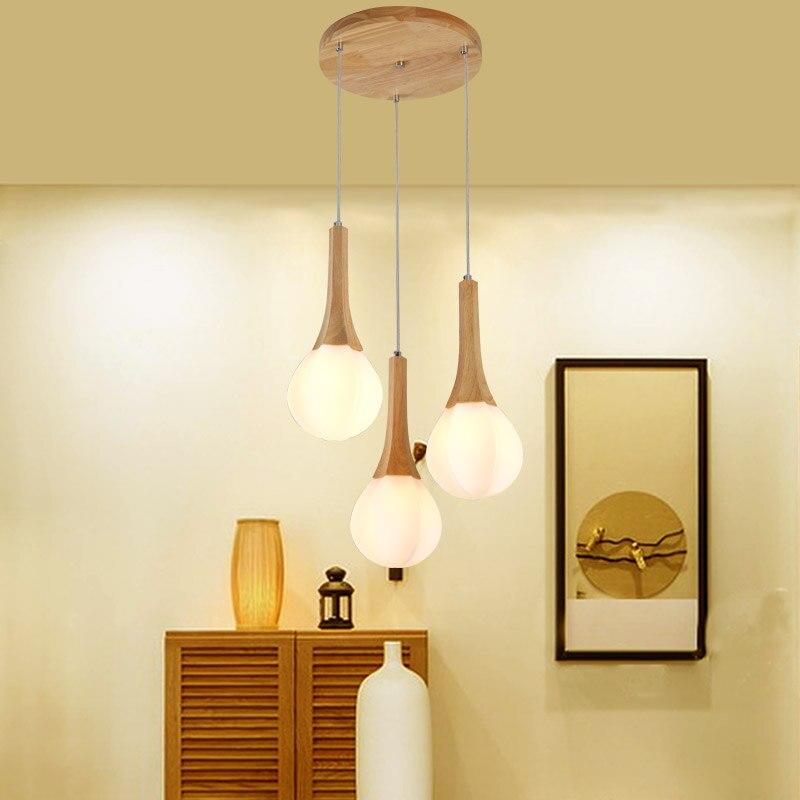 Chandelier creative personality Nordic restaurant lights bar porch art simple logs 3 disc chandeliers Straight LU626 ZL144