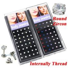 80 peças moda círculo redondo zircão cúbico pedra cristal labret parafuso prisioneiro lábios piercing anéis de jóias orelha helix tragus cartilagem