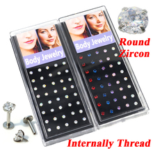 80 pièces mode rond cercle cubique Zircon pierre cristal Labret goujon lèvres Piercing anneaux bijoux oreille hélice Tragus Cartilage