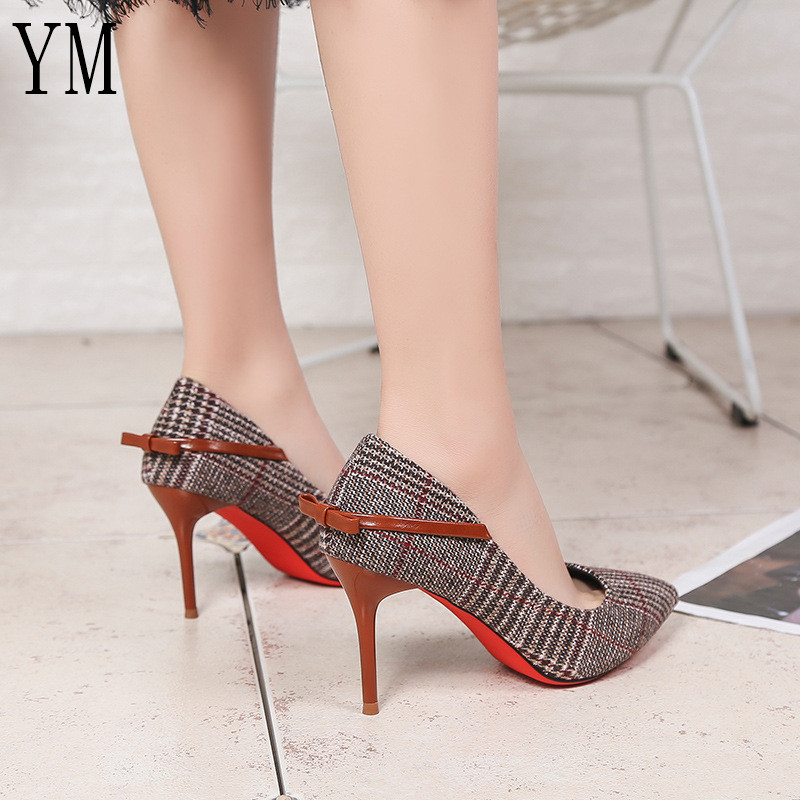 Hot Sale Plaid Women Pumps Shoes Slip-On Shallow Wedding Party Pointed Toe High Heels Chaussures Femme Thin Heels With Knot 39 newest flock blade heels shoes 2018 pointed toe slip on women platform pumps sexy metal heels wedding party dress shoes