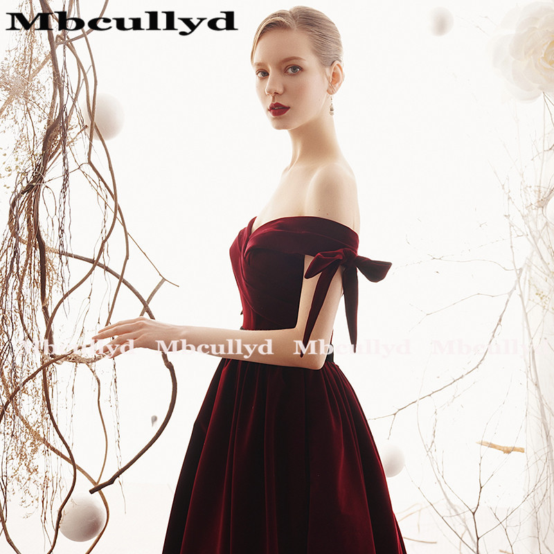 Mbcully Sexy Backless Burgundy Prom vestidos largo 2019 de hombro terciopelo negro chicas Formal noche fiesta vestidos vestido de gala - 4