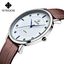WWOOR Men Watches Fashion Casual Slim Simple Dial Clock Leather Strap Male Watch Waterproof Quartz Wristwatch Relogio Masculino