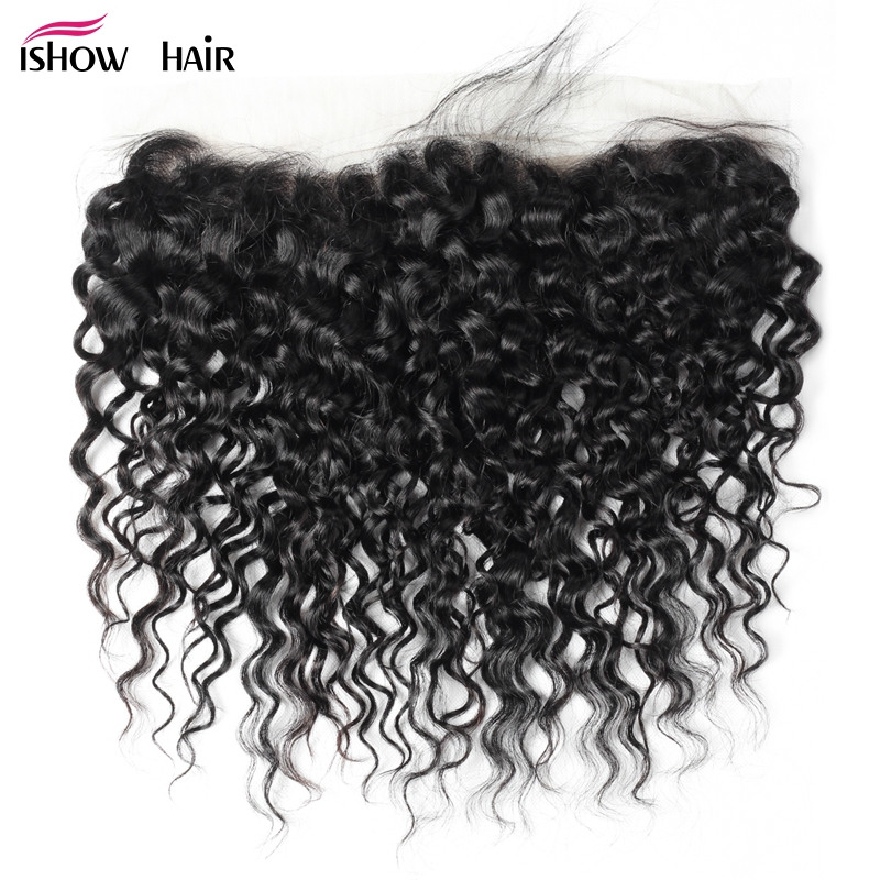 Ishow Hair 13x4 Lace Frontal Brazilian Water Wave Ear To Ear Pre Plucked Frontal Closure With Baby Hair 100 Non Remy Human Hair