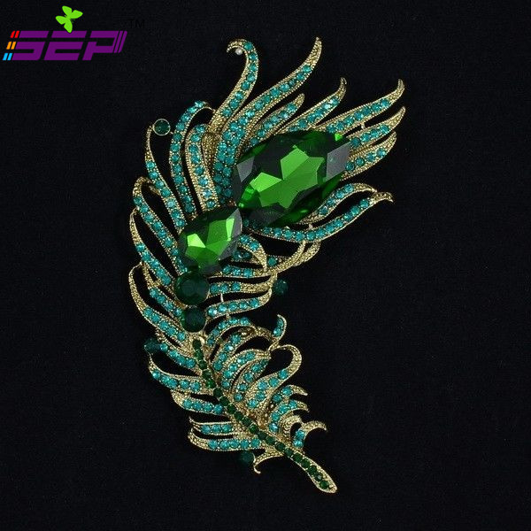 New 2015 Vintage Style Drop Crystal Rhinestone Brooches Green Peacock Feather Broach Pins for Women Jewelry