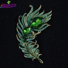 Новые 2015 винтажном стиле кристалл горного хрусталя броши зеленый пера павлина пен для женщин ювелирные изделия бесплатная доставка 5038