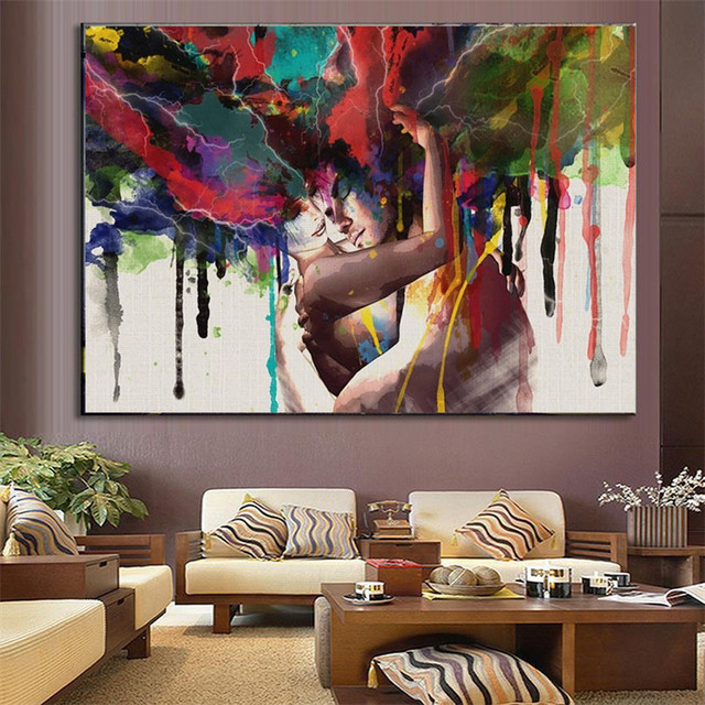 Inspirational HAOCHU Couple Painting Abstract Modern House Decor Wall Art Picture Digital Print Poster Canvas Sitting Bedroom  - Latest Wall Posters for Bedroom Model