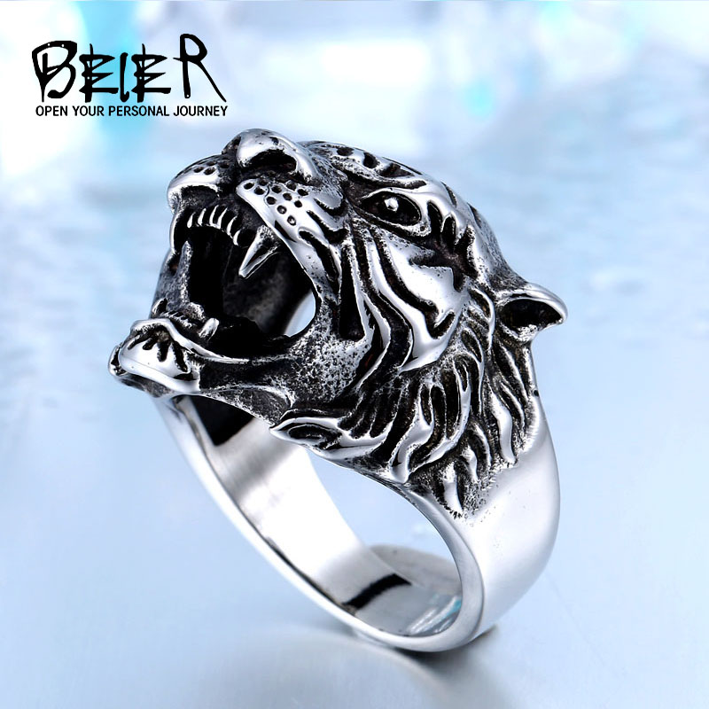 BEIER 316L Stainless Steel Titanium Animal Tiger Head Ring s